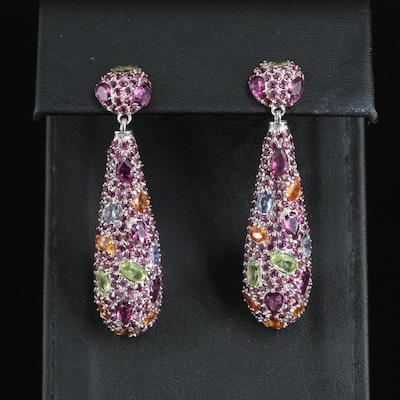 Sterling Teardrop Earrings with Sapphire, Peridot and Garnet
