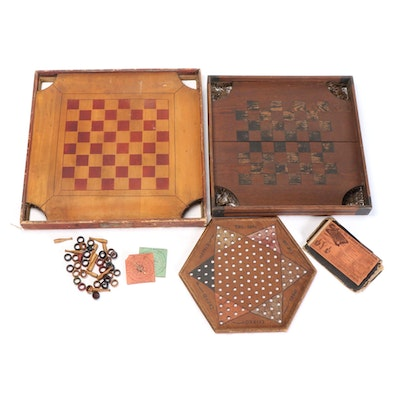 Carom and Crokinole Combination Game Boards with Handmade Chinese Checkers Board