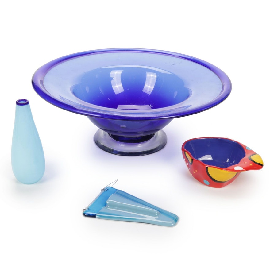 Hand-Blown Art Glass Centerpiece Bowl, Wall Pocket, Vase, and Ganz Ceramic Dish