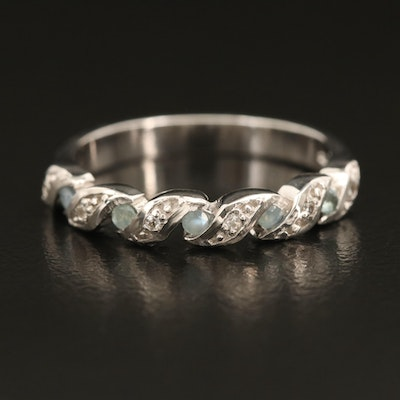 Sterling Alexandrite and Zircon Braided Illusion Set Ring