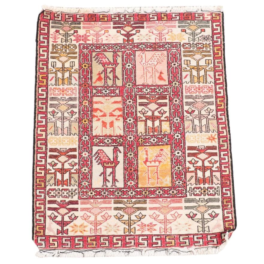 2'4 x 3'2 Handwoven Persian Shahsevan Soumak Accent Rug