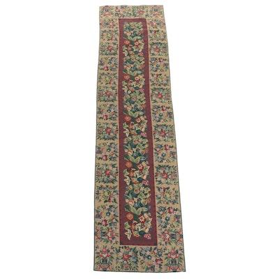 2'6 x 9'10 Handmade Chinese Floral Needlepoint Carpet Runner
