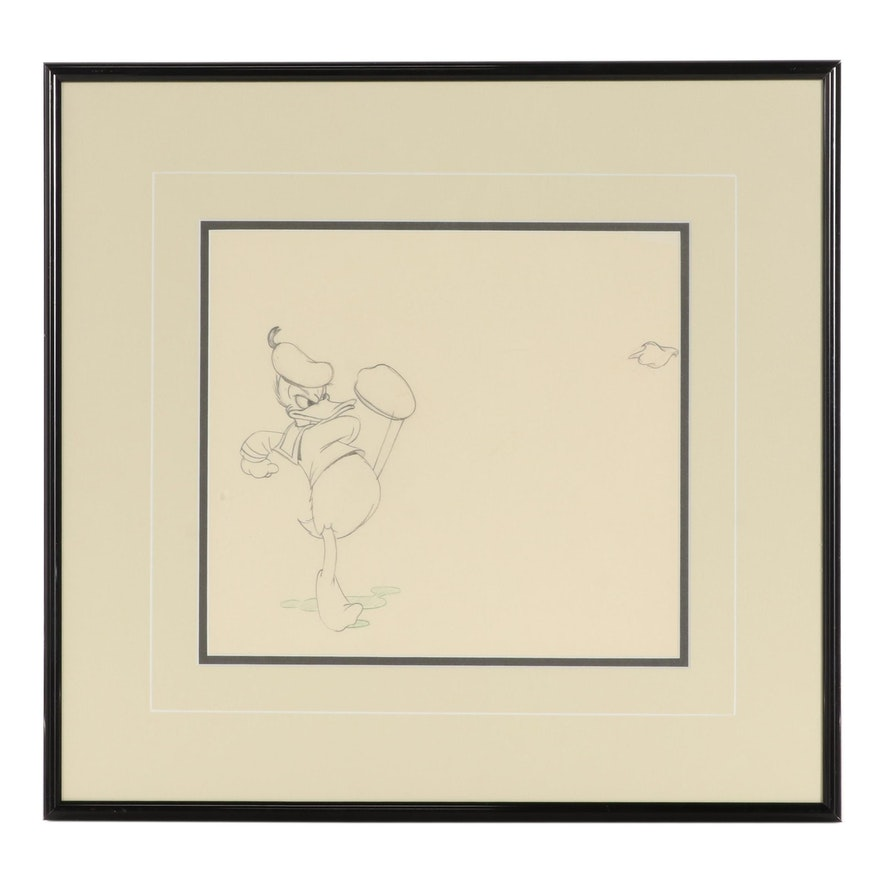 """Disney """"The New Spirit"""" Graphite Animation Drawing of Donald Duck"""