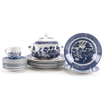 """Churchill """"Willow Blue"""" and Other Ceramic Dinnerware, Late 20th Century"""