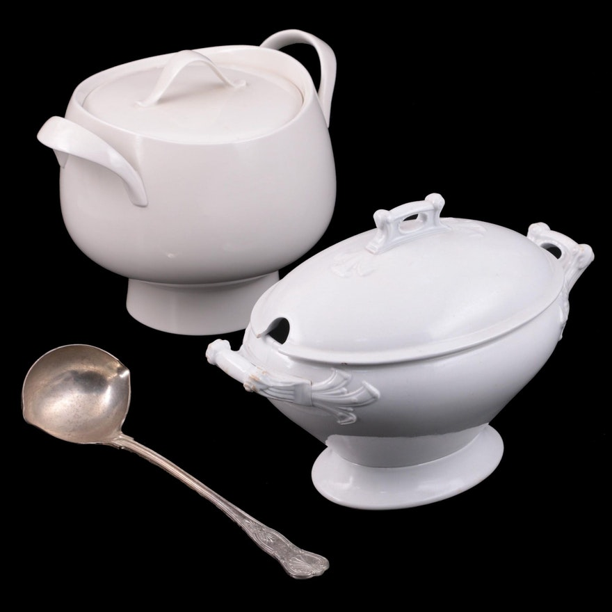 Maddock & Co. Ironstone Vegetable Dish and Ceramic Soup Tureen with Ladle