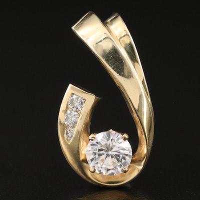 14K Cubic Zirconia and Diamond Slide Pendant