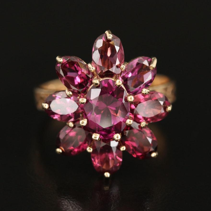 10K Rhodolite Garnet Floral Ring