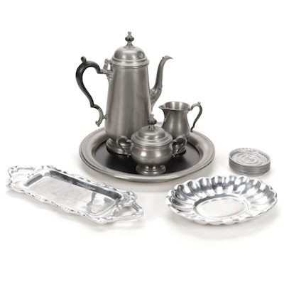 Oneida Heirloom, Holland Boone and L.E. Mason Pewter Coffee Set and Accessories