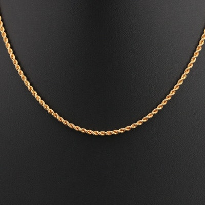 18K Braided Rope Chain Necklace