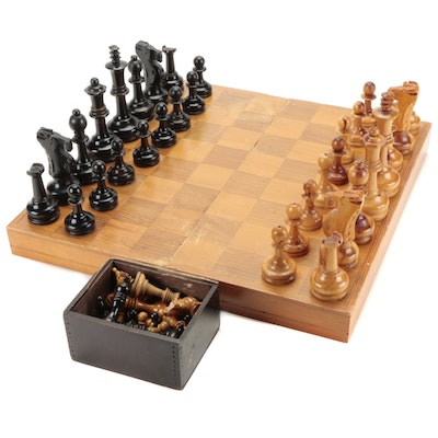Carved Wood Chess Sets with Folding Game Board, Mid-20th Century
