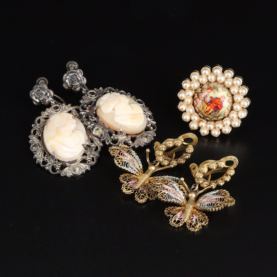 Vintage Sterling Cameo and 800 Silver Filigree Earrings with Painted Brooch