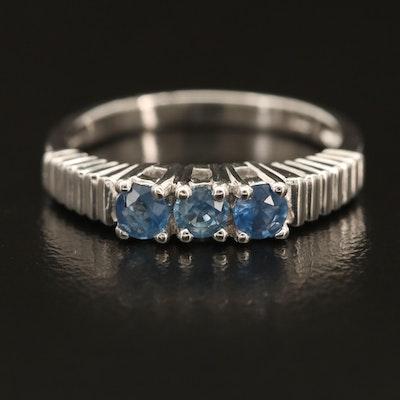 Sterling Sapphire Three Stone Ring