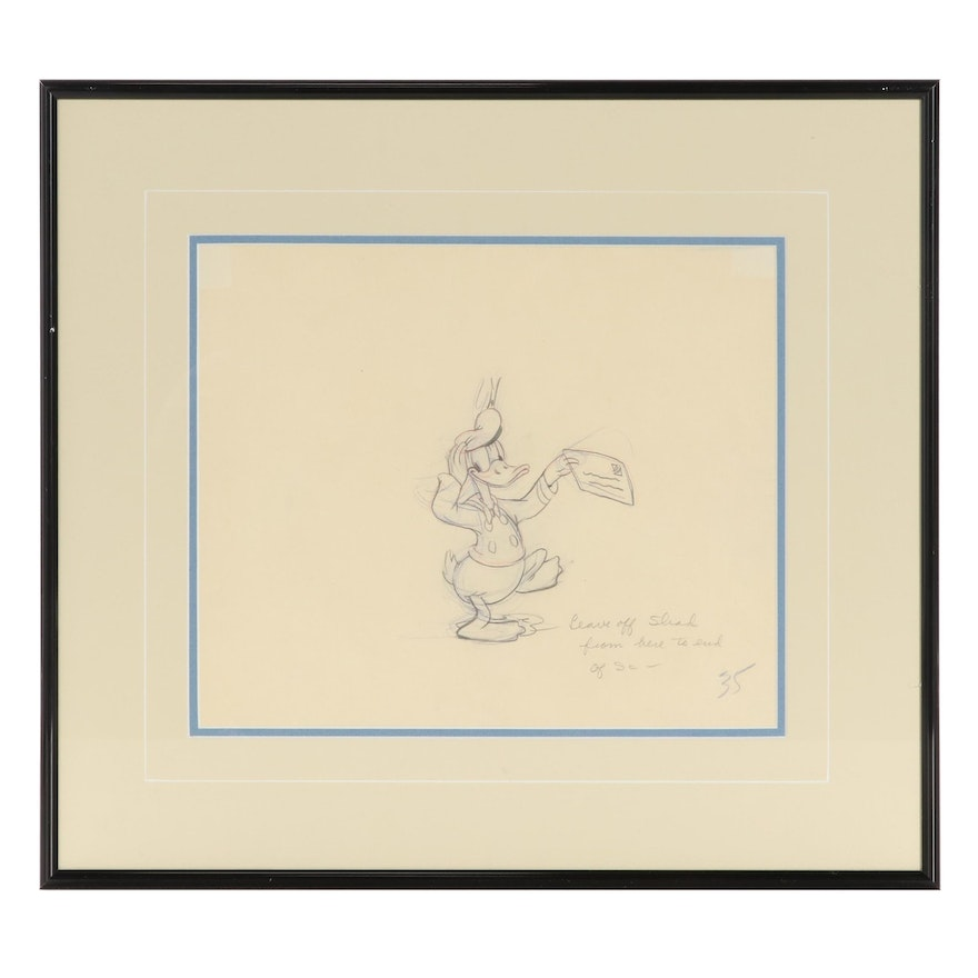 """Disney Graphite Animation Drawing of Donald Duck """"The New Spirit"""""""