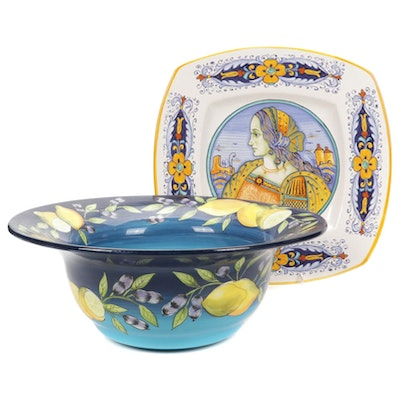 Hand-Painted Italian Deruta Ceramic Plate and Gates Ware Bowl