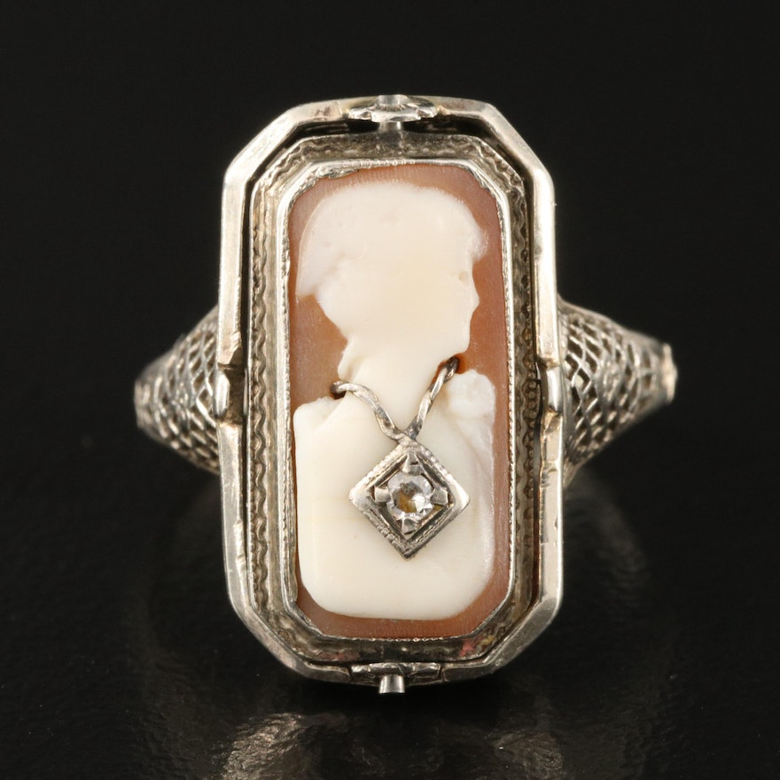 Vintage 14K Reversible Shell and Diamond Cameo Habillé and Black Onyx Ring