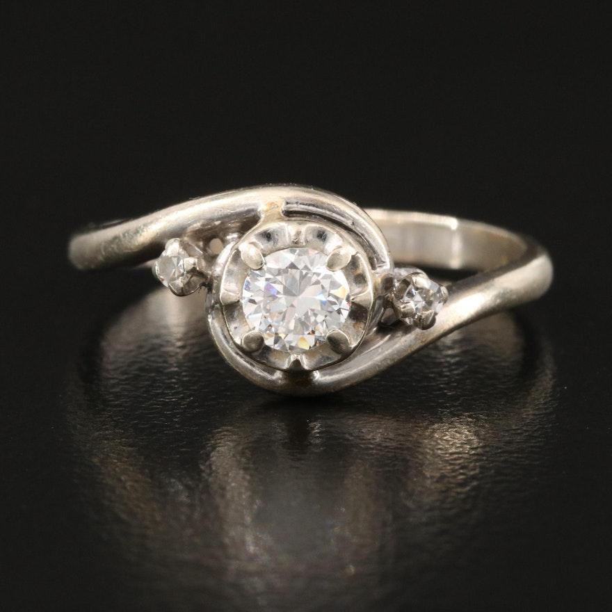 1950s 14K 0.38 CTW Diamond Bypass Ring