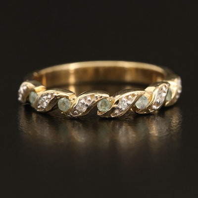 Sterling Chrysoberyl and Zircon Braided Illusion Set Ring