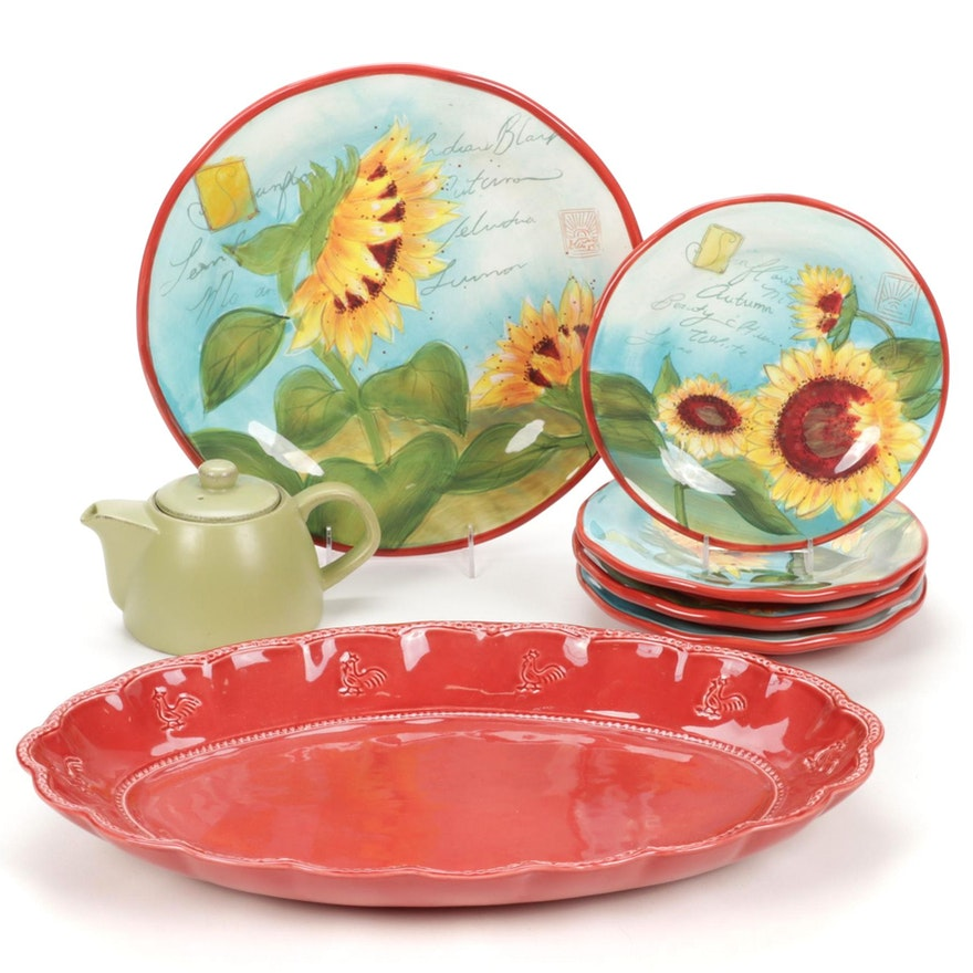 """Susan Winget """"Meadows"""" Serveware with Other Rooster Serving Tray and Teapot"""
