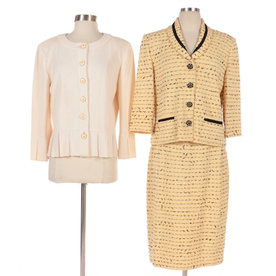 St. John Collection Knit Yellow and Black Skirt Suit and Off-White Jacket