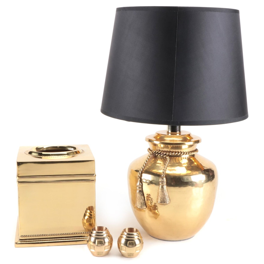 Brass Maison Tissue Cover, Candle Holders and Table Lamp