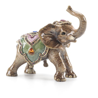 Jay Strongwater Enameled and Metal Elephant Figurine