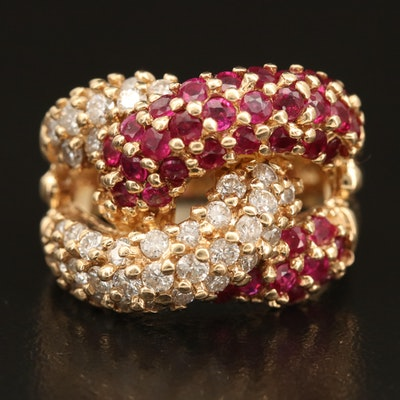 14K 1.36 CTW Diamond and Ruby Interlock Ring