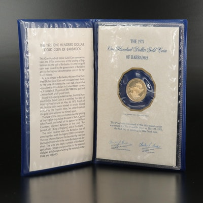 1975 Barbados $100 Gold Coin