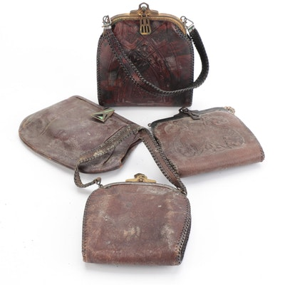 Hard Frame Accessory Pouches and Handbags in Tooled Leather