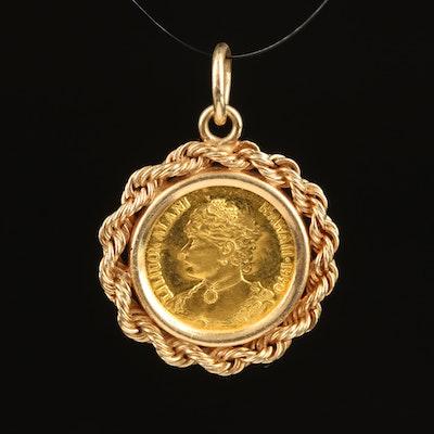 14K Pendant with 1990 Gold Hawaii Token