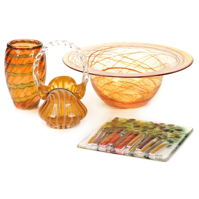 Fenton Ruffled Edge Basket and Other Blown Glass Table Accessories