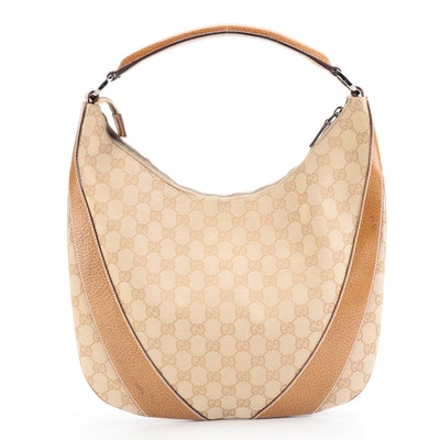 Gucci Hobo Bag in GG Canvas with Leather Trims