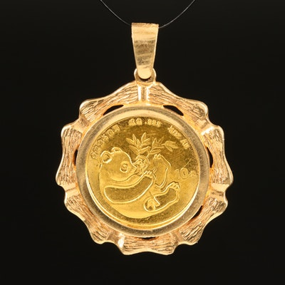 14K Bamboo Pendant with 1984 10 Yuan Gold Panda Coin