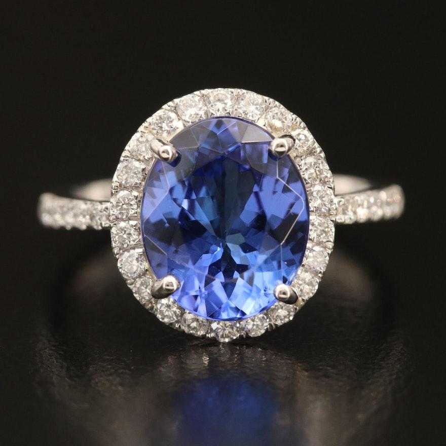 Platinum 3.65 CT Tanzanite Ring with Diamond Halo