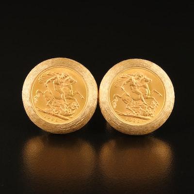 14K Cufflinks with 1925 George V British Gold Sovereign Restrike