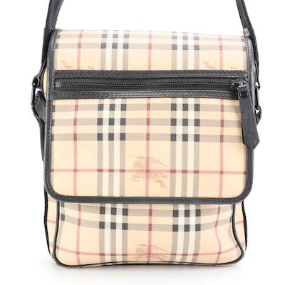 Burberry Wardour Messenger Bag in PVC Haymarket Check with Black Trim