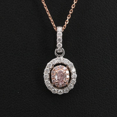 14K Rose and White Gold 0.44 CTW Diamond Pendant Necklace