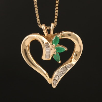 10K Emerald and Diamond Heart Pendant on 14K Box Chain
