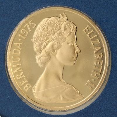 "1975 Bermuda $100 ""Royal Visit"" Gold Coin and Stamp Set"