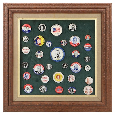 Political Campaign Pins Including Dwight D. Eisenhower, Richard Nixon, and More