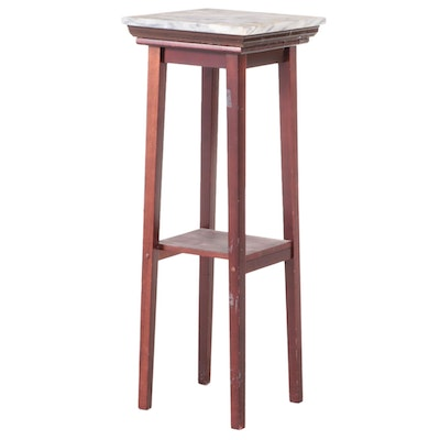 Mahogany-Stained and Marble Top Plant Stand
