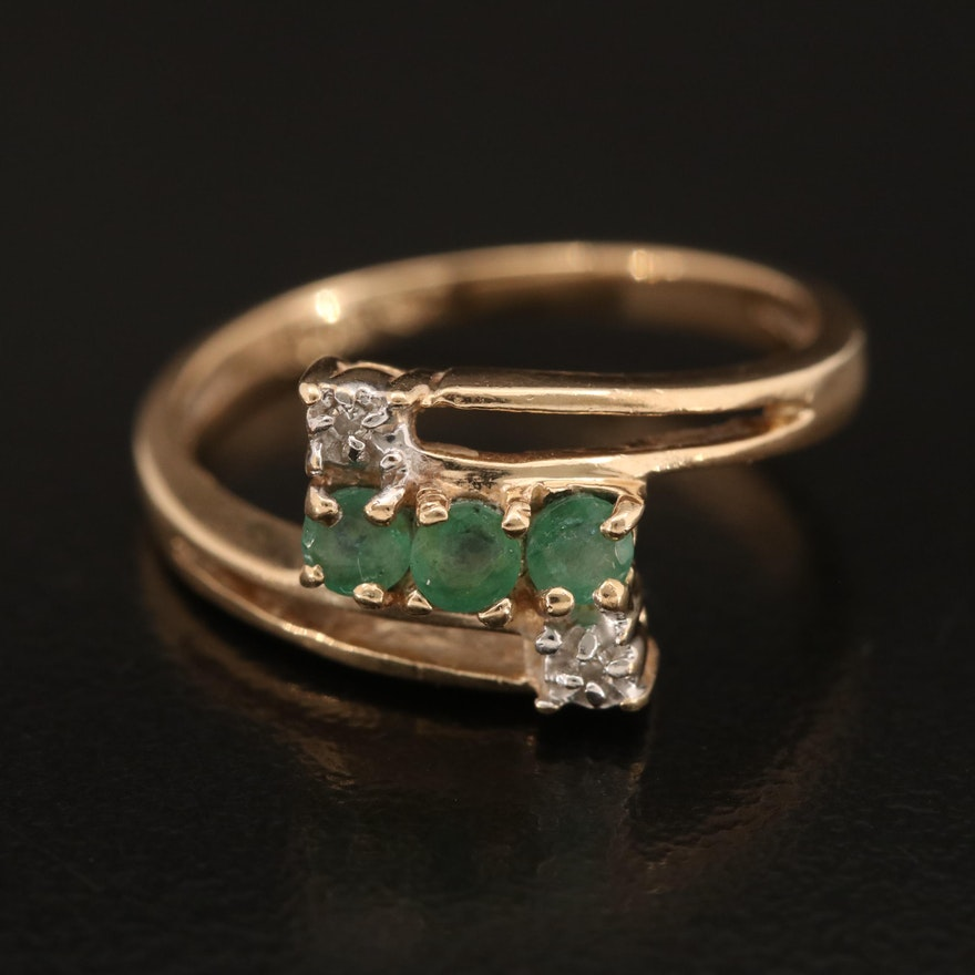 10K Emerald and Diamond Bypass Ring