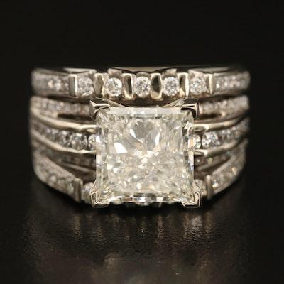 14K 6.25 CTW Multi-Row Diamond Ring with IGI Report