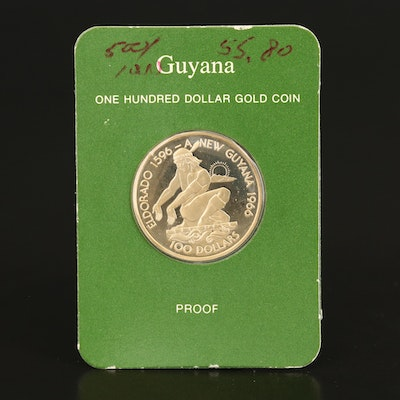 1976 Guyana $100 Proof Gold Coin