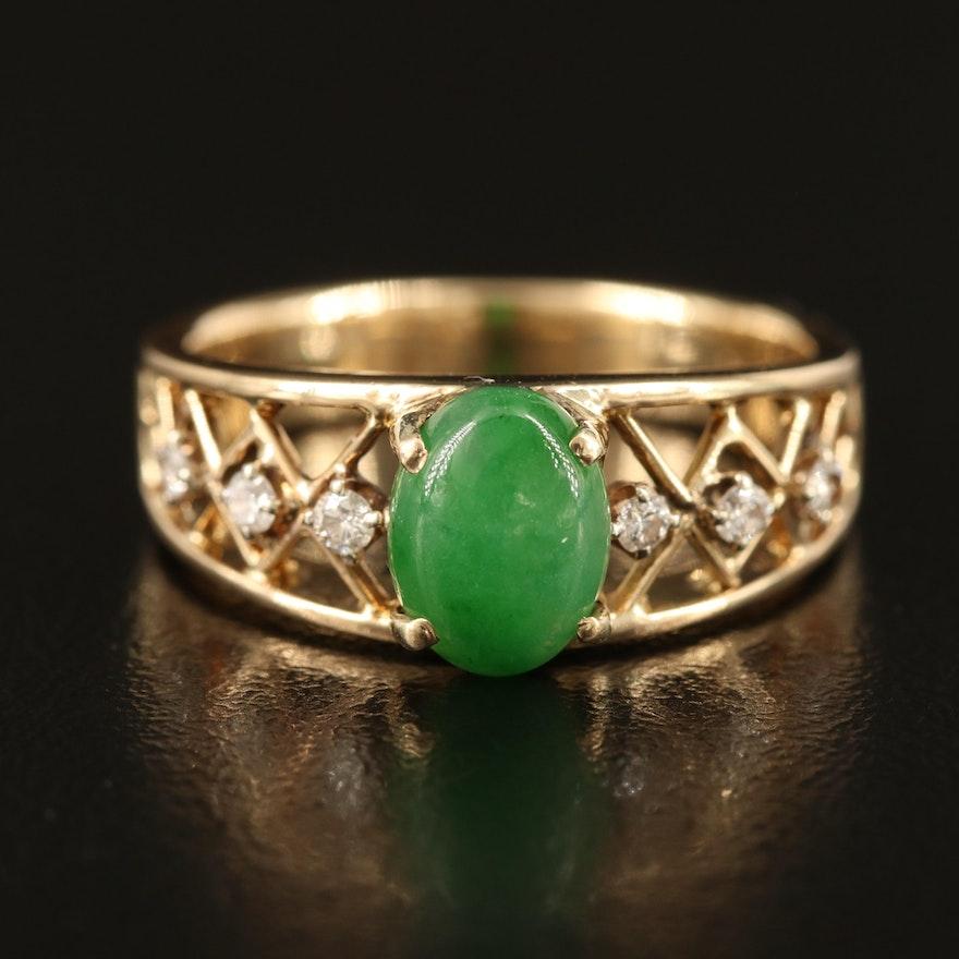 14K Jadeite and Diamond Ring with Openwork Shoulders