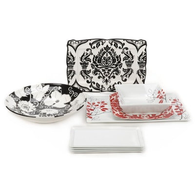 The Cellar White Ware Floral Bowl and Platter with Other Serving Dishes