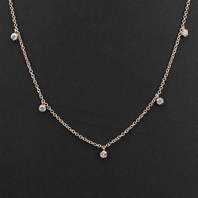 14K 1.00 CTW Diamond Fringe Station Necklace