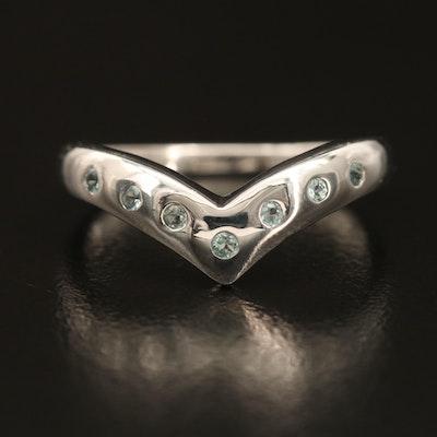 Sterling Alexandrite Chevron Ring with Flush Settings