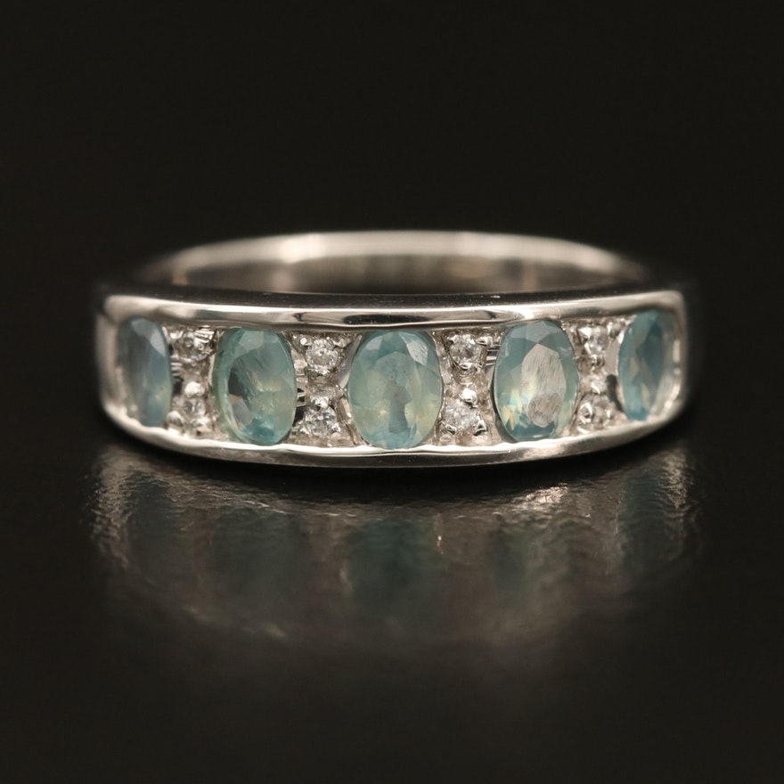 Sterling Alexandrite Stackable Ring with Cubic Zirconia