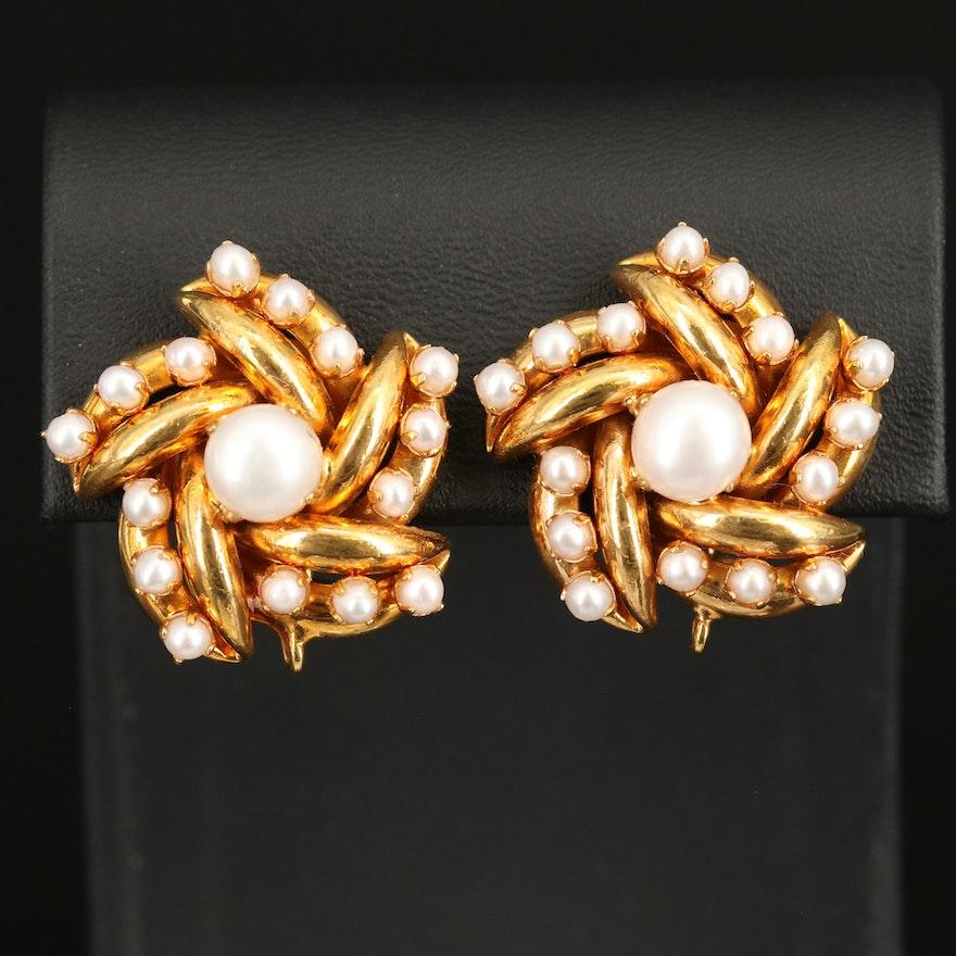 Bounkit Pearl Spiral Button Earrings