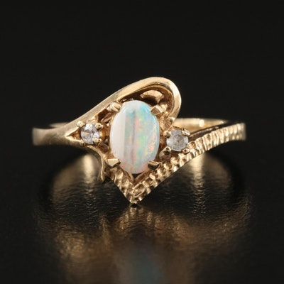 10K Opal and White Spinel Asymmetrical Ring